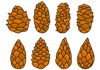 Set Of Pine Cones Vectors - vector gratuit #435381
