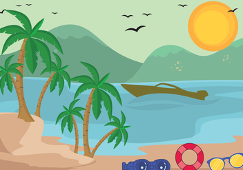 Tropical Palm Beach Vector - Free vector #435391
