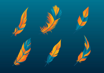 Pluma Orange Blue Free Vector - vector gratuit #435441