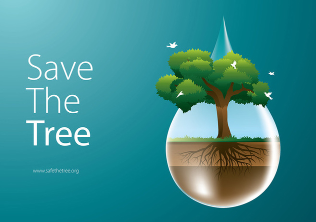 Save The Tree Free Vector - vector #435461 gratis