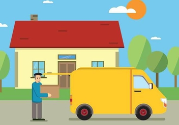 Free Male Worker Carrying Cardboard Boxes In Front Of Van Illustration - Free vector #435511