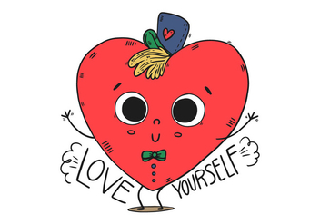 Cute Heart Kid Character With Hat And Happy Quote - vector #435531 gratis