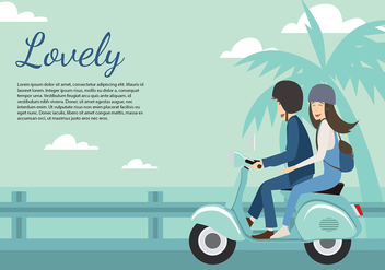 Scooter Couple Beach Free Vector - бесплатный vector #435541
