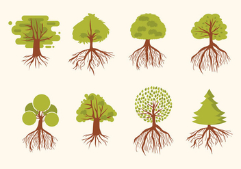 Tree With Roots Vector - Free vector #435611