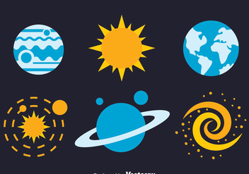 Space Element Flat Icons Vectors - бесплатный vector #435721