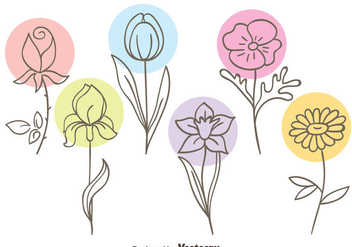 Beautiful Sketch Flowers Collection Vector - vector gratuit #435851