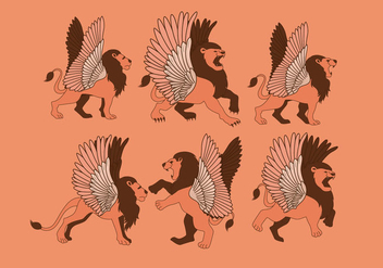 Winged Lion Vector - Free vector #436001