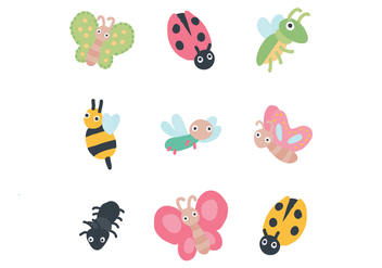 Set Of Cute Bugs - Free vector #436161