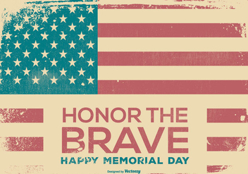 Retro Happy Memorial Day Background - vector gratuit #436171