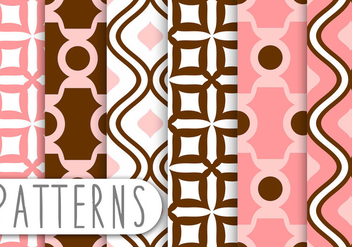 Dusty Coral Decorative Pattern set - vector gratuit #436221