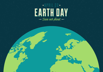Earth Day Vector Retro Poster - vector gratuit #436301