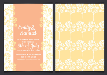 Vector Yellow Branches Wedding Invitation - vector gratuit #436441