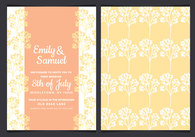 Vector Yellow Branches Wedding Invitation - Kostenloses vector #436441