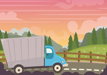 Camion At Sunset - Kostenloses vector #436491