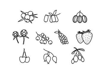 Free Berries Line Icon Vector - Kostenloses vector #436591