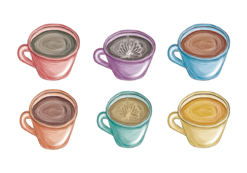 Vector Hand Drawn Colorful Mugs - бесплатный vector #436601