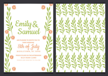 Vector Green Wedding Invitation - vector #436651 gratis