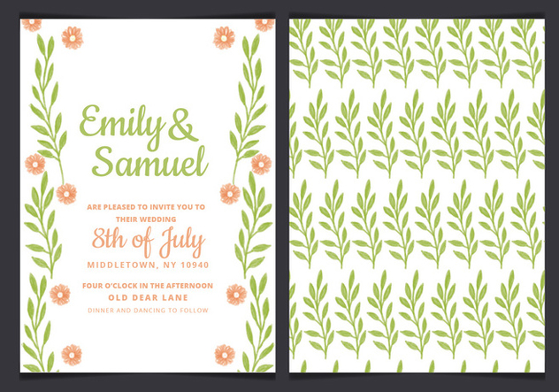 Vector Green Wedding Invitation - Kostenloses vector #436651