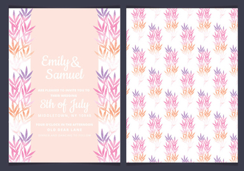 Vector Pink Branches Wedding Invitation - vector gratuit #436661