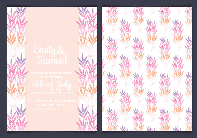 Vector Pink Branches Wedding Invitation - Kostenloses vector #436661