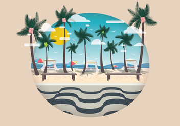 Copacabana with Coconut Tree Vector - Free vector #436701