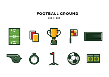 Football Ground Icon Set Free Vector - vector gratuit #436801