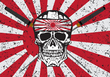 Kamikaze Skull Vector Background - Free vector #436911