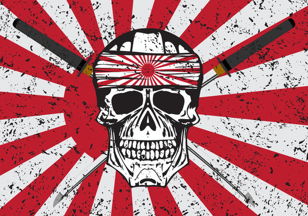 Kamikaze Skull Vector Background - vector gratuit #436911