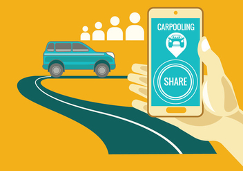 Carpooling concept on yellow background - vector gratuit #436991