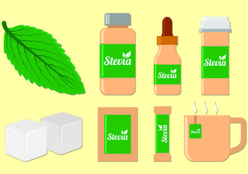 Set Of Stevia Sugar Vectors - vector gratuit #437131