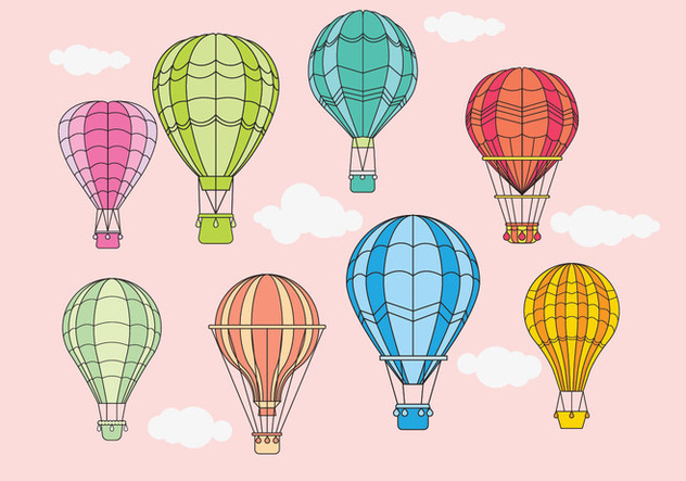 Vintage Hot Air Balloons Design Vektoren - Kostenloses vector #437171