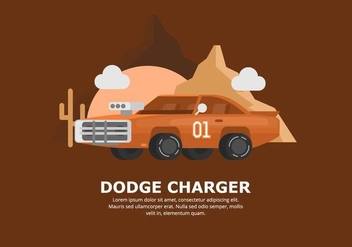 Orange Dodge Car Illustration - vector gratuit #437421