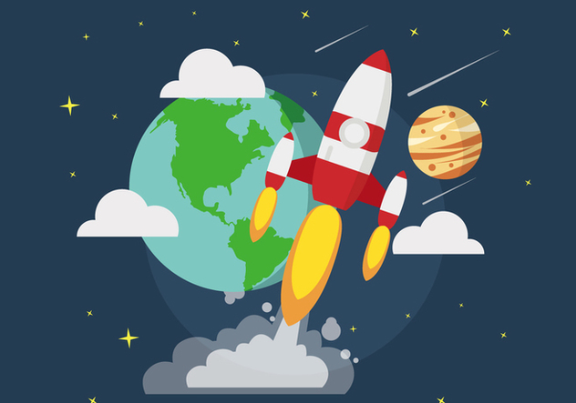 Space Ship Illustration On The Space - Free vector #437461