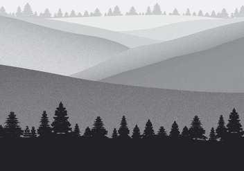 Mountain Landscape with Film Grain Effect Vector Background - Free vector #437481