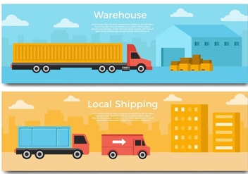 Free Delivery Truck Banner Vector - Kostenloses vector #437731