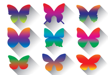 Rainbow Butterfly Vector Pack - Kostenloses vector #437771