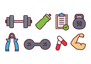 Fitness and Gym Icon Set - vector #437841 gratis