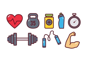 Gym Icon Set - vector #437851 gratis