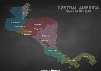 Chalk Drawn Central America Capital Cities Map - бесплатный vector #437881