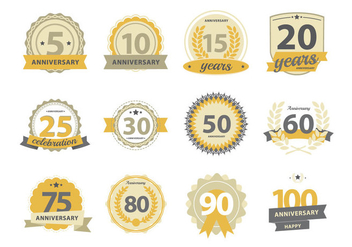 Happy Anniversary Badge - Free vector #437971