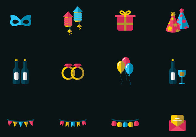 Anniversary Vector Icons - vector #437991 gratis