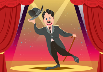 Charlie Chaplin On Stage Vector - Free vector #438041