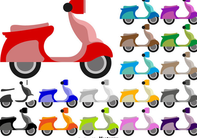 Scooter Flat Colorful Icons - Vector - бесплатный vector #438061