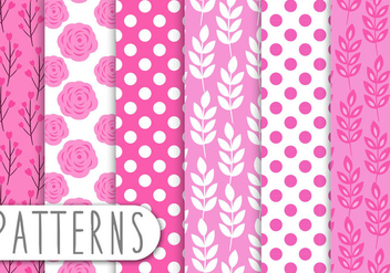 Pink Floral Pattern Set - Kostenloses vector #438071