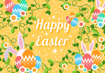 Decorative Easter Egg With Rabbit Background - Kostenloses vector #438091