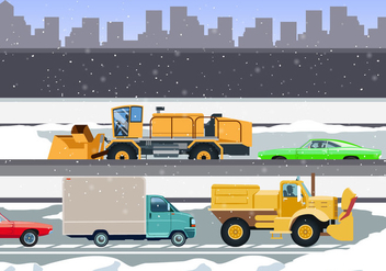 Snow Blowers Cleaning The City Roads Vector - vector gratuit #438101