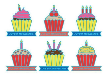 Anniversaire cupcake celebration vectors - бесплатный vector #438181