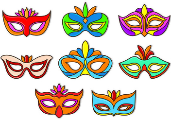 Set Of Masquerade Ball Vectors - Free vector #438351