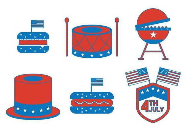 Independence Day July 4th Icon Vector Set - Free vector #438381