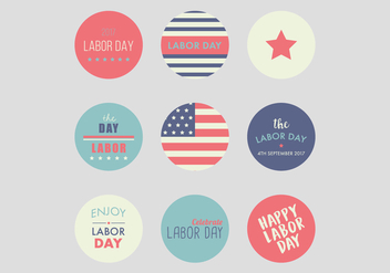 Happy Labor Day Badges - vector #438421 gratis